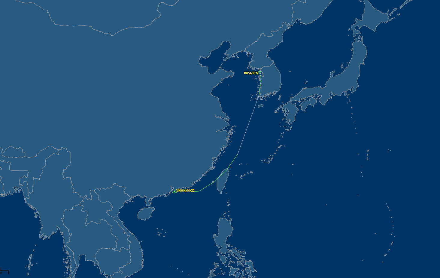 ICN to HKG air route map