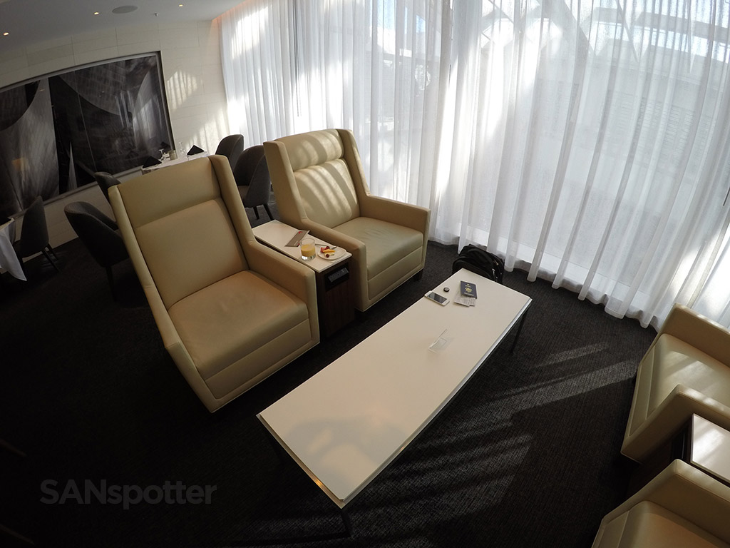 comfortable seating lax first class lounge