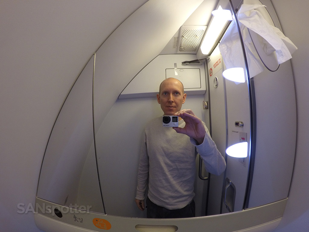 airplane bathroom selfie