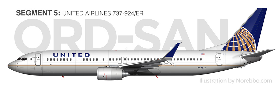 united airlines 737-900 side view drawing
