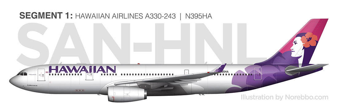 hawaiian airlines a330 side view