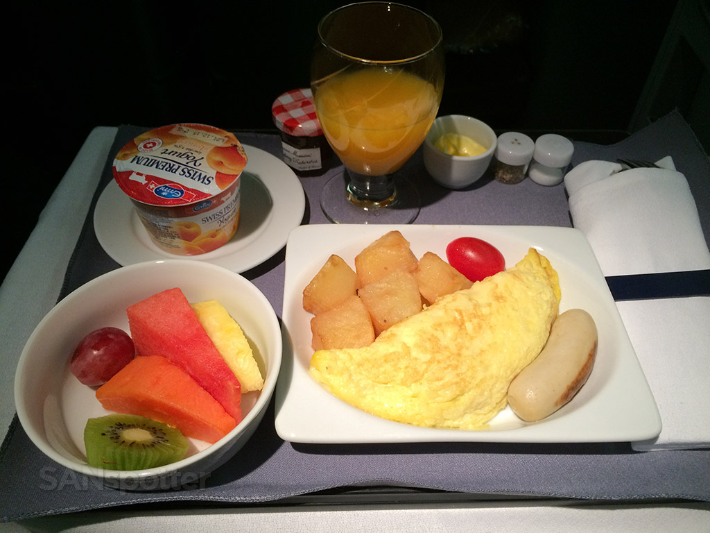 united airlines BusinessFirst breakfast