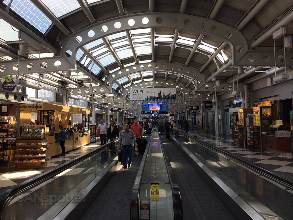 walking through the united airlines terminal at ORD