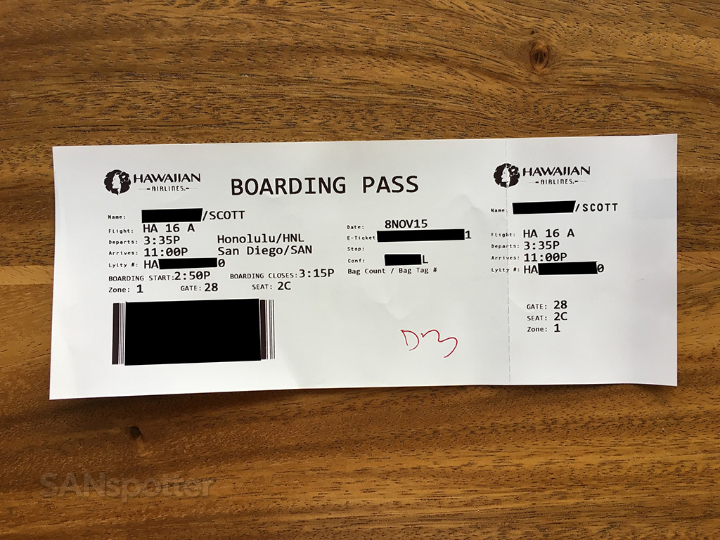 hawaiian airlines boarding pass
