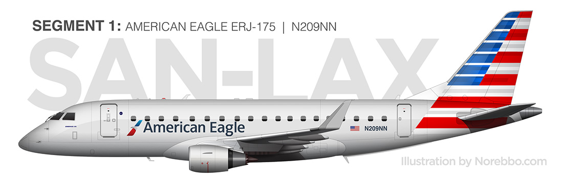American Eagle ERJ-175 side view illustration