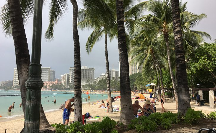 back on waikiki beach