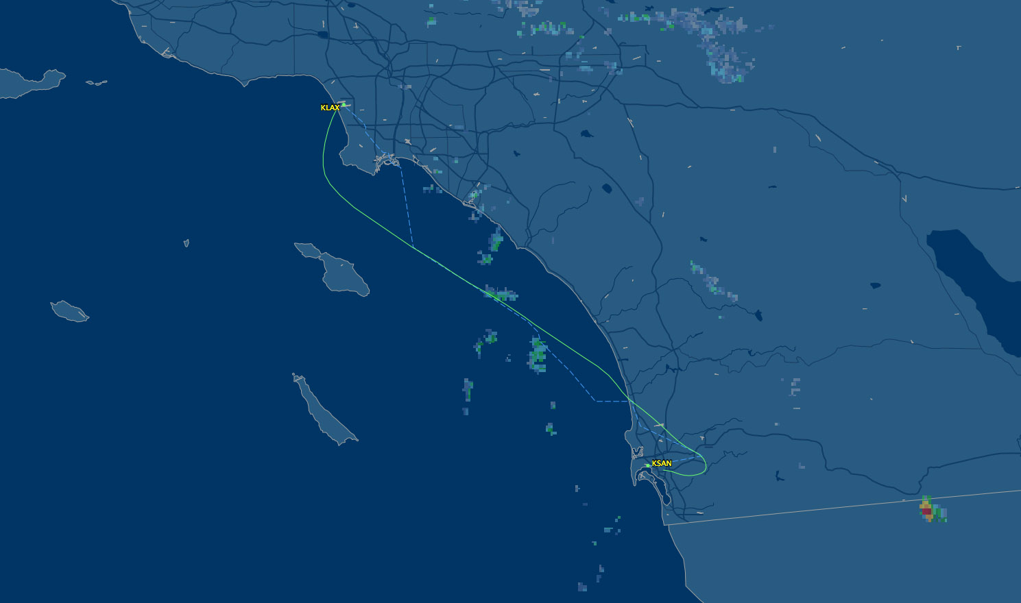 flight route los angeles to san diego