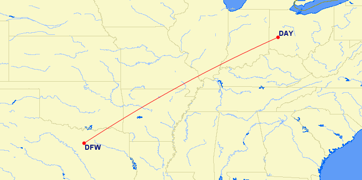 dayton to dallas route map