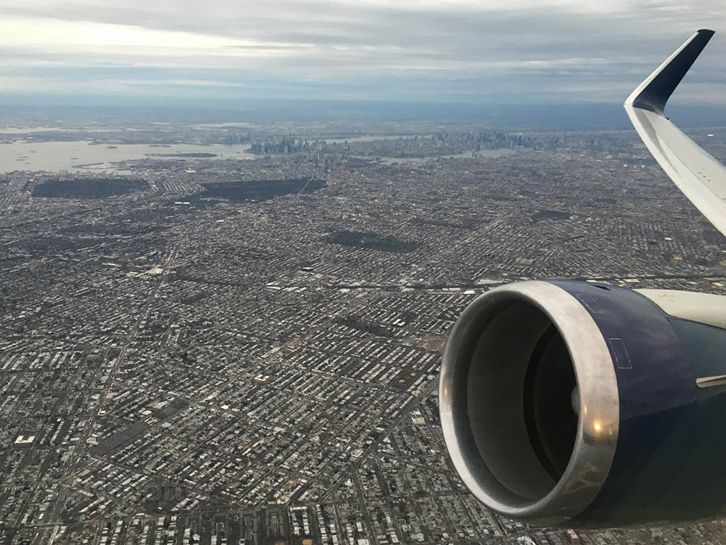view of new york city on departure from jfk