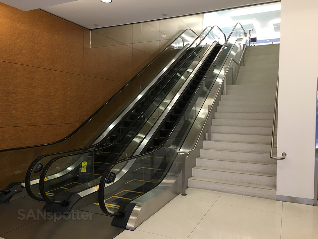 escalators up to the lounge