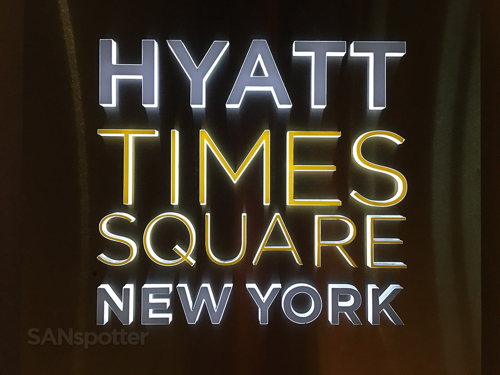 illuminated hyatt times square signage