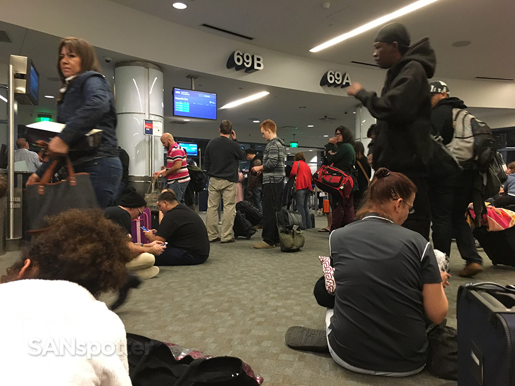 no room to sit at LAX