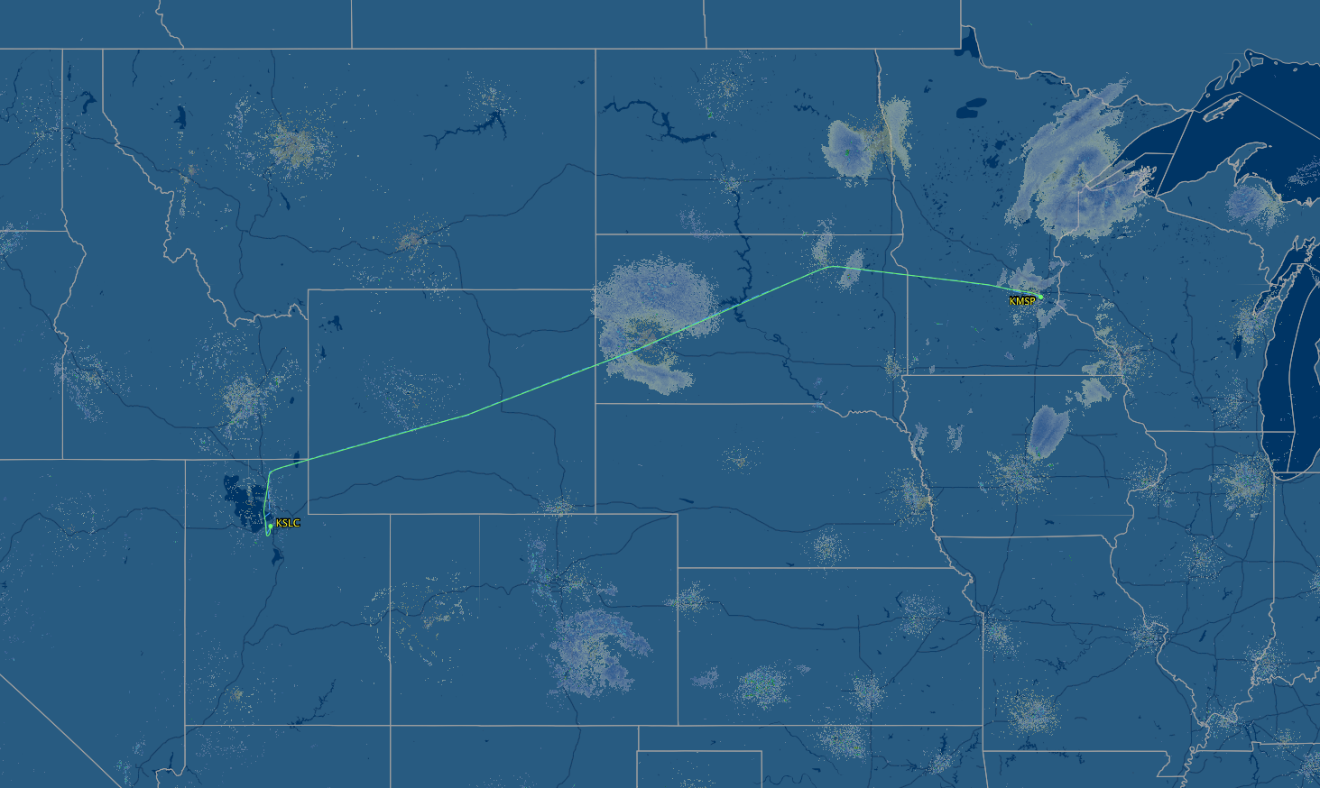 MSP to SLC air route