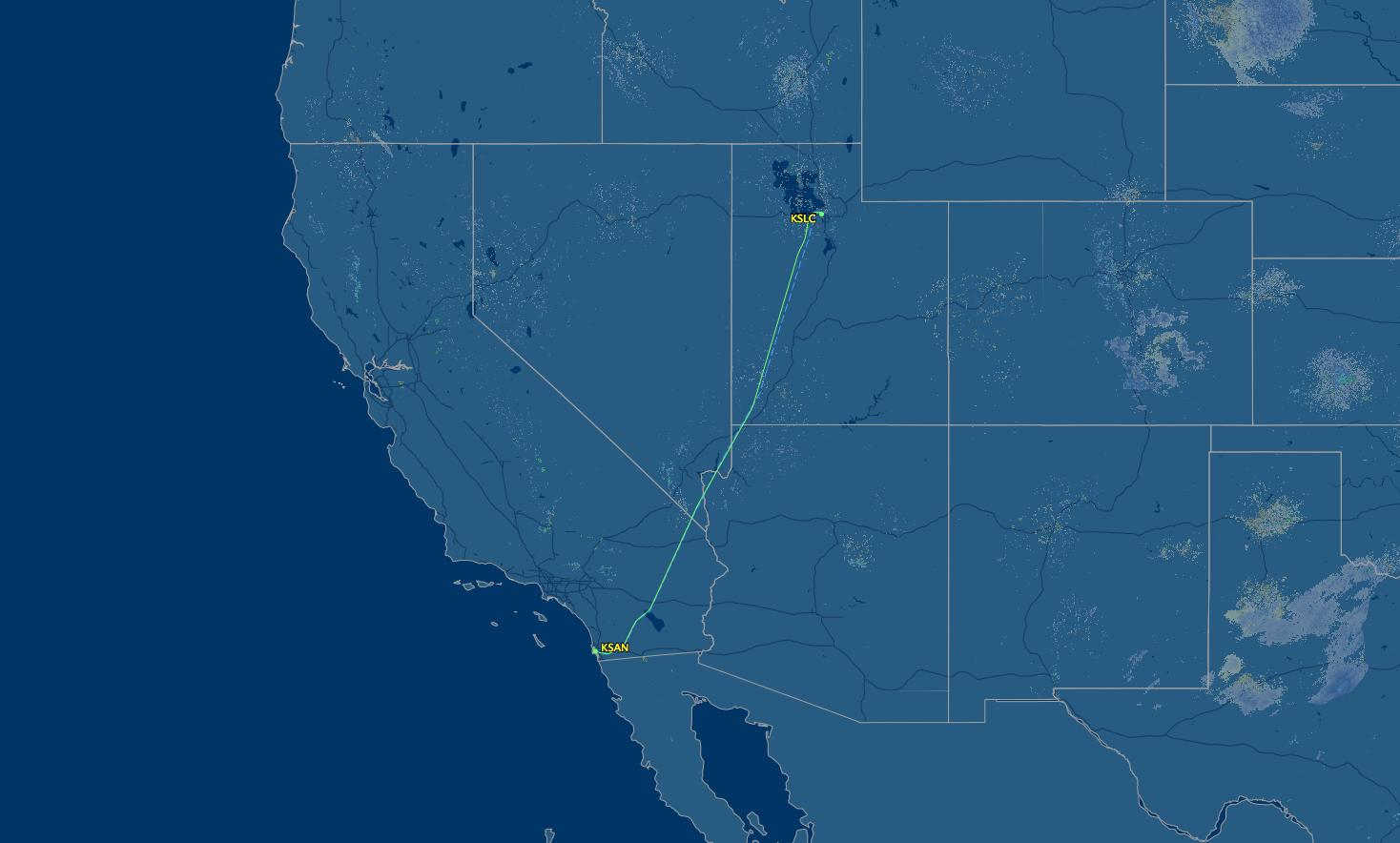 air route from slc to san