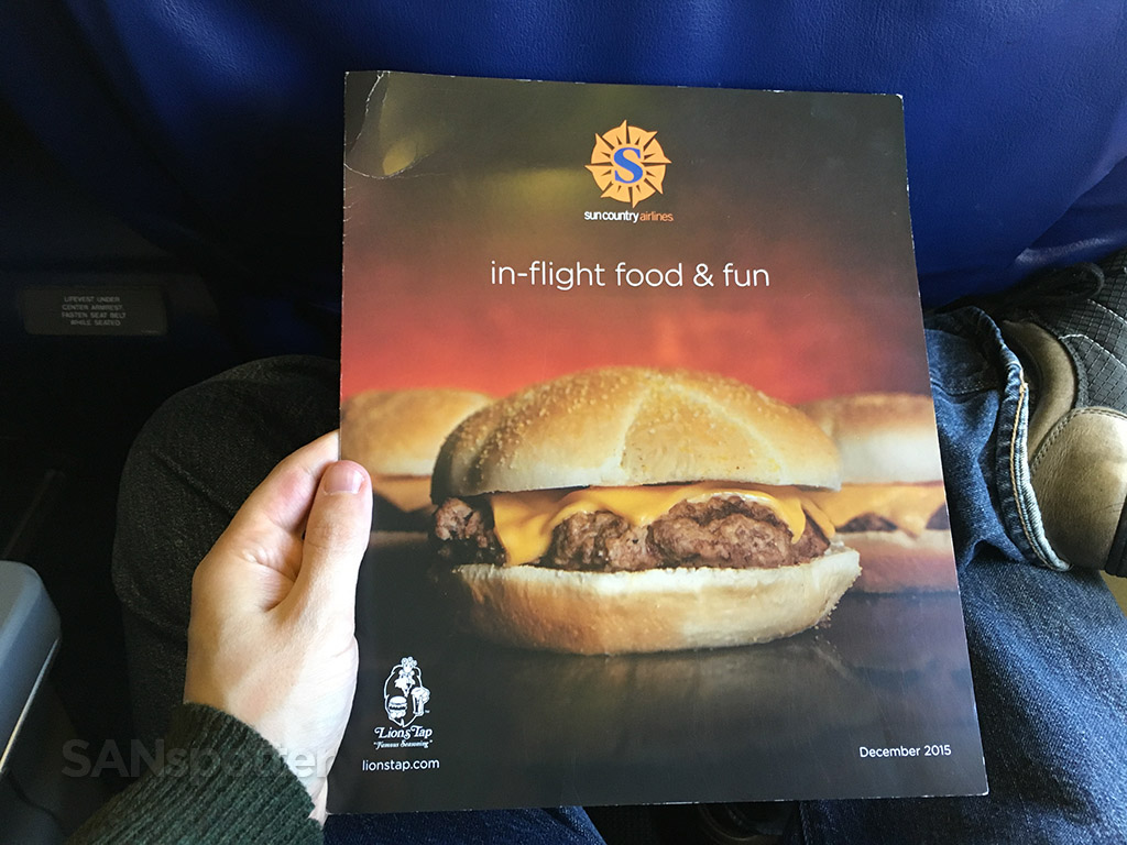 sun country in flight menu