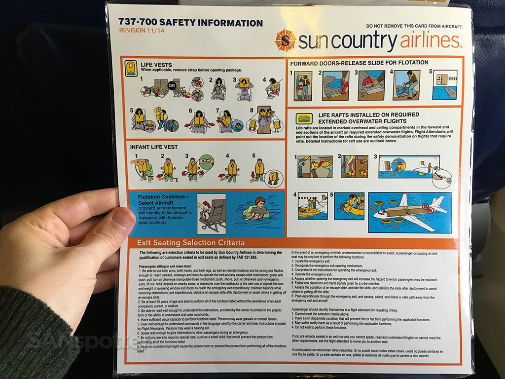 sun country 737-700 flight safety card