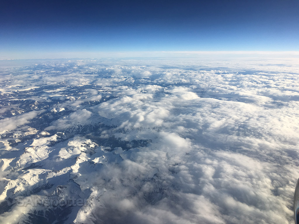 snowy colorado mountains from the air