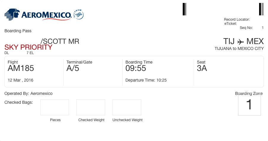 AeroMexico boarding pass