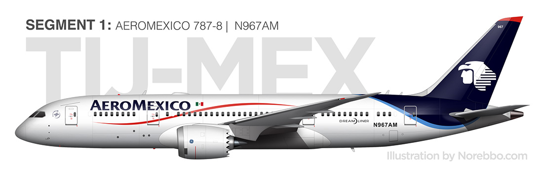 AeroMexico 787-8 (N967AM) side view illustration
