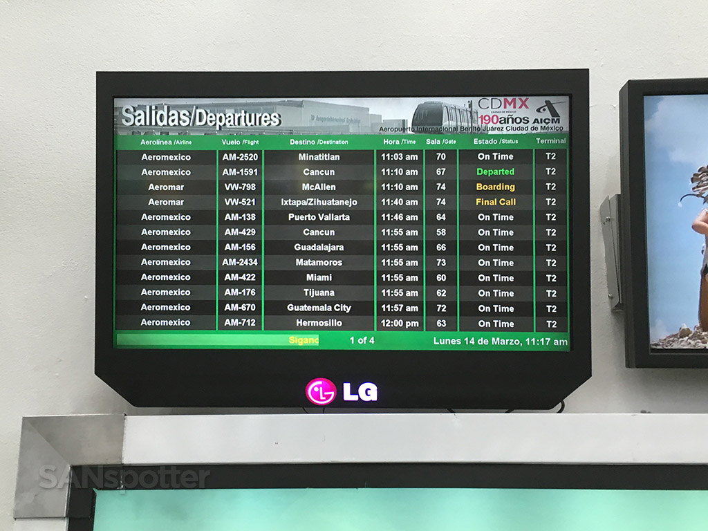 mexico city departure board