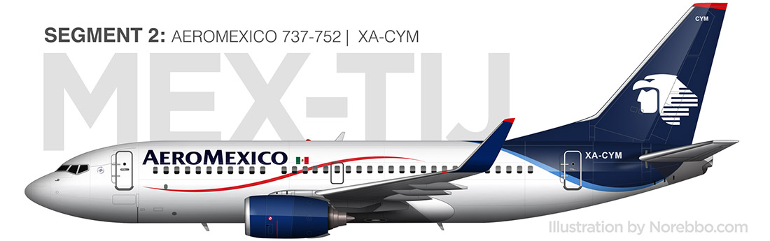 aeromexico 737-700 side view drawing