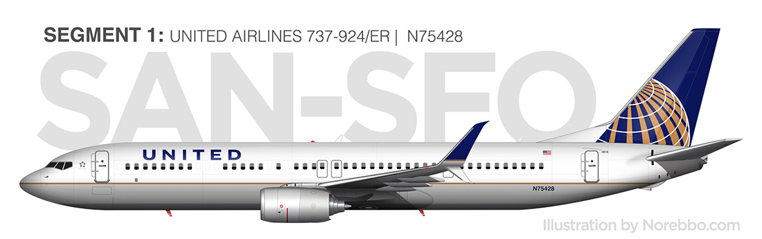 United Airlines 737-900/ER (N75428) side view
