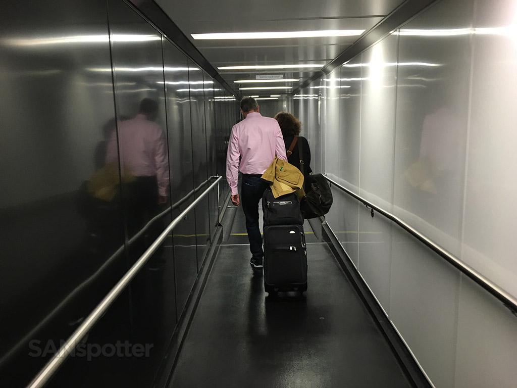 Walking down the jet bridge