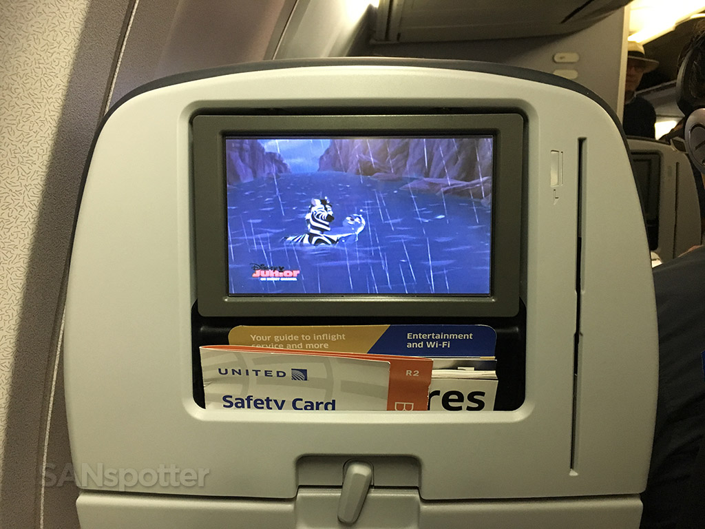 united economy in seat video screen