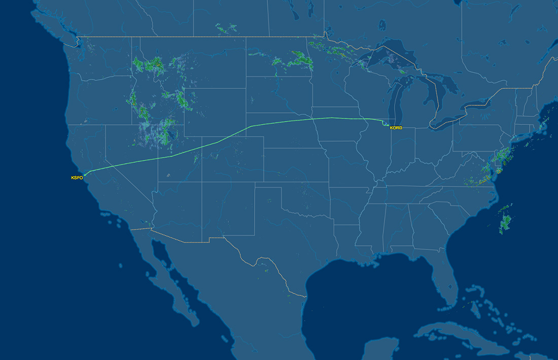 route from SFO to ORD