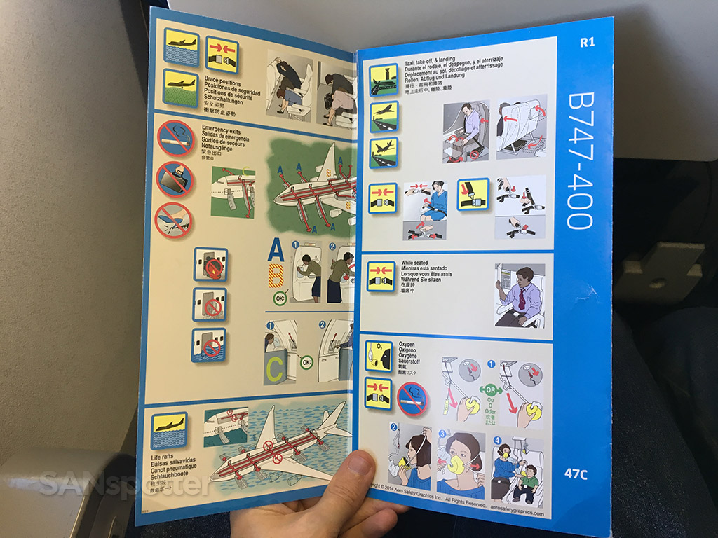 United Airlines 747-400 safety card