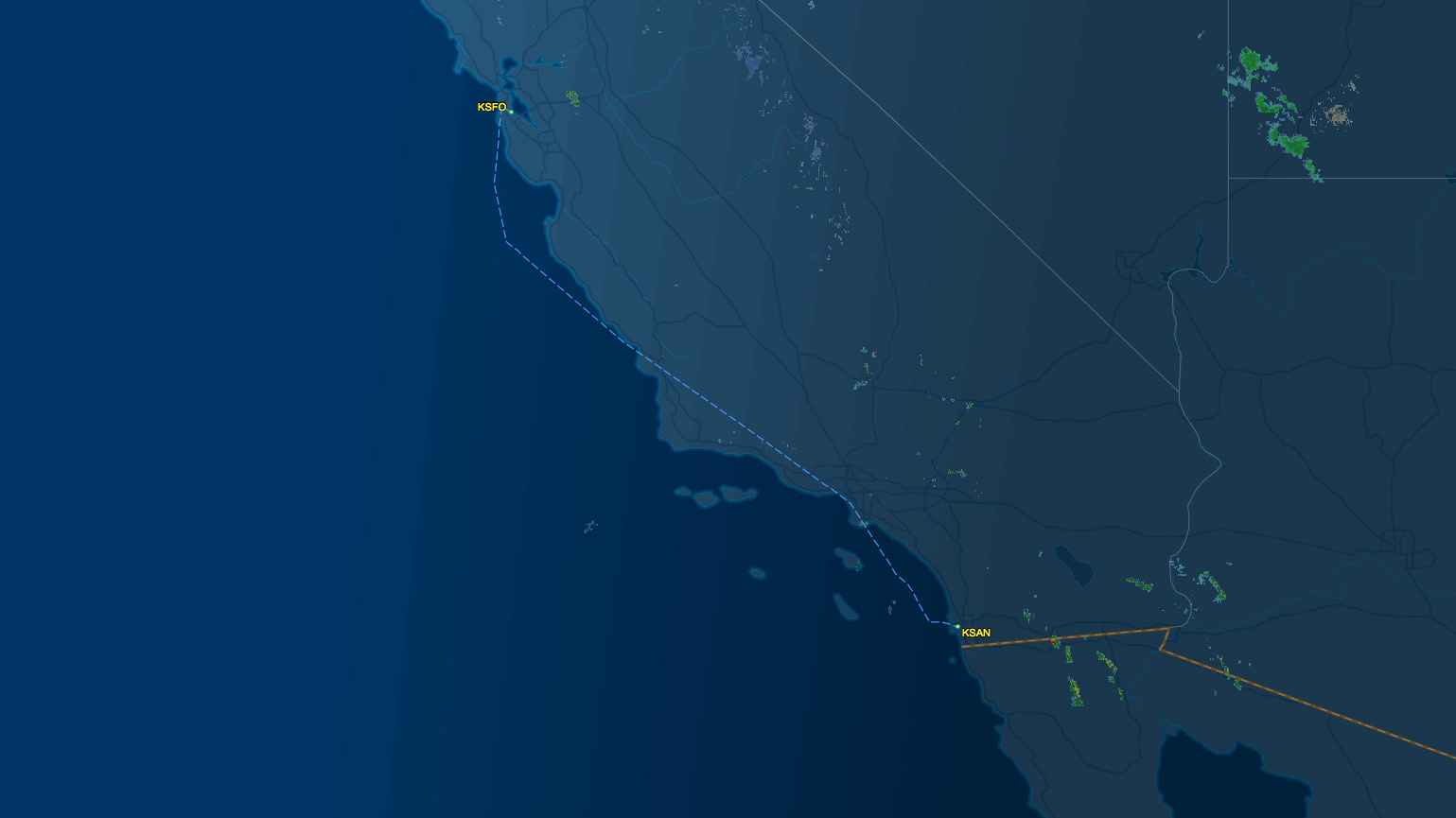 SFO to SAN air route map
