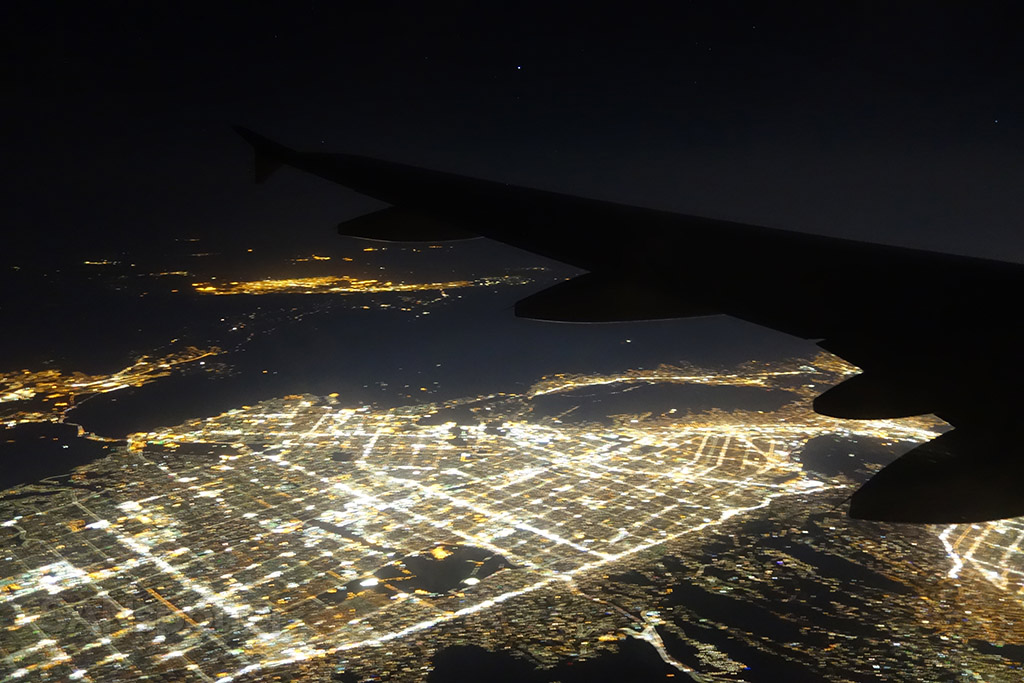 Overflying Los Angeles night