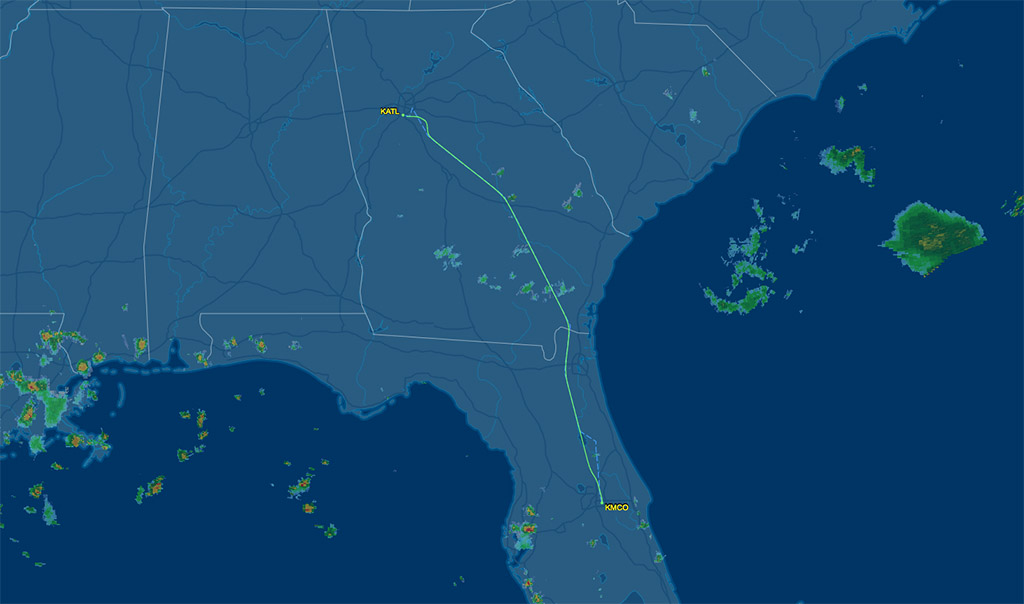 air route between orlando and altanta