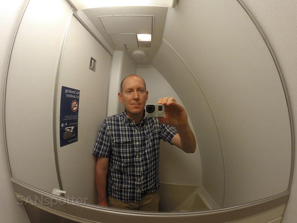 airplane lavatory selfie