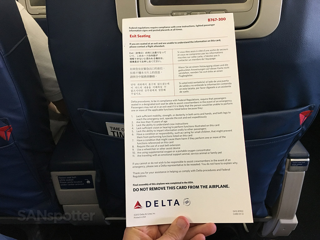 exit row seating instructional card