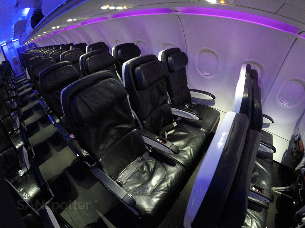 Virgin America standard economy seating