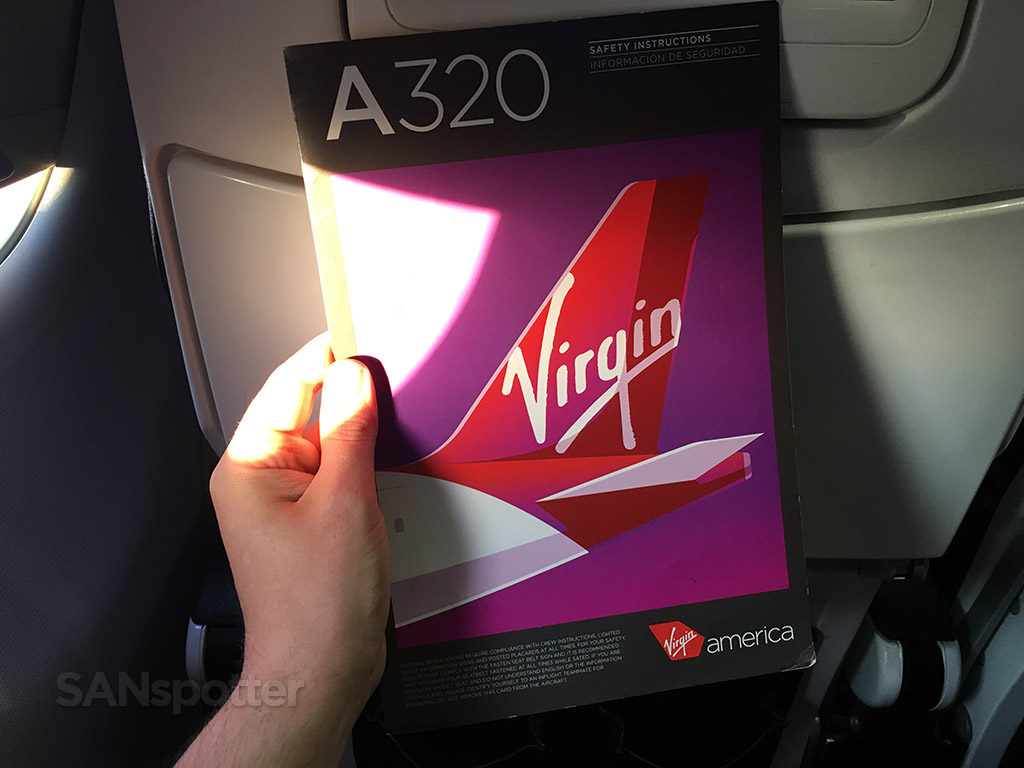 virgin america a320 safety card