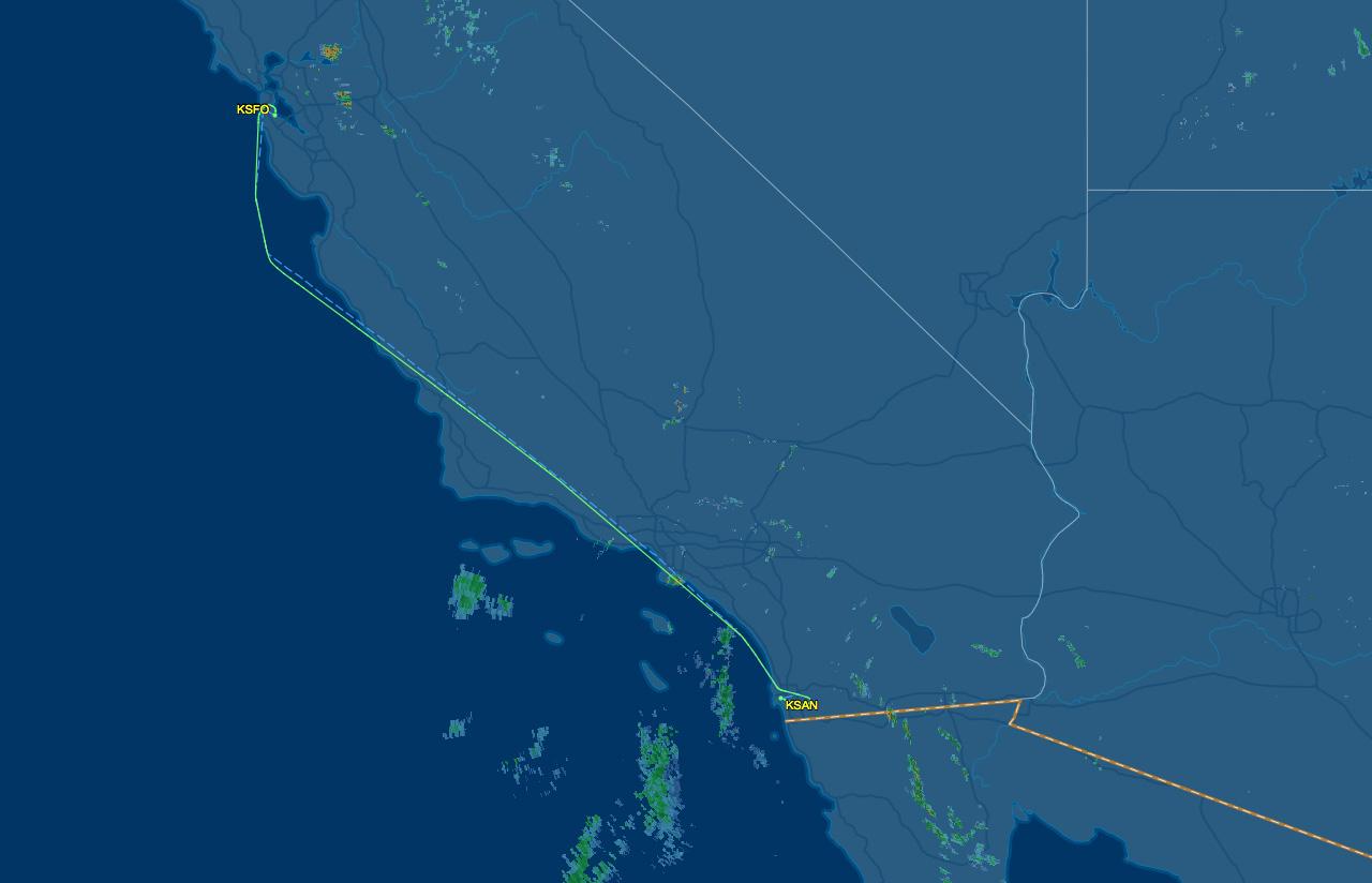 sfo to san air route