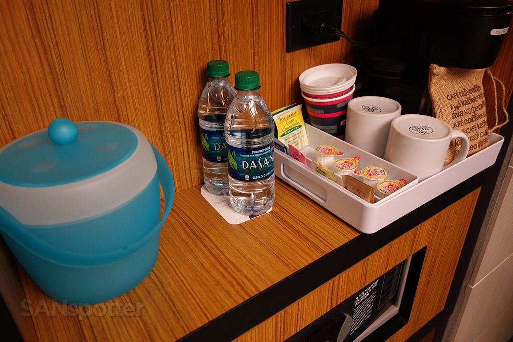 aloft hotel free water and coffee