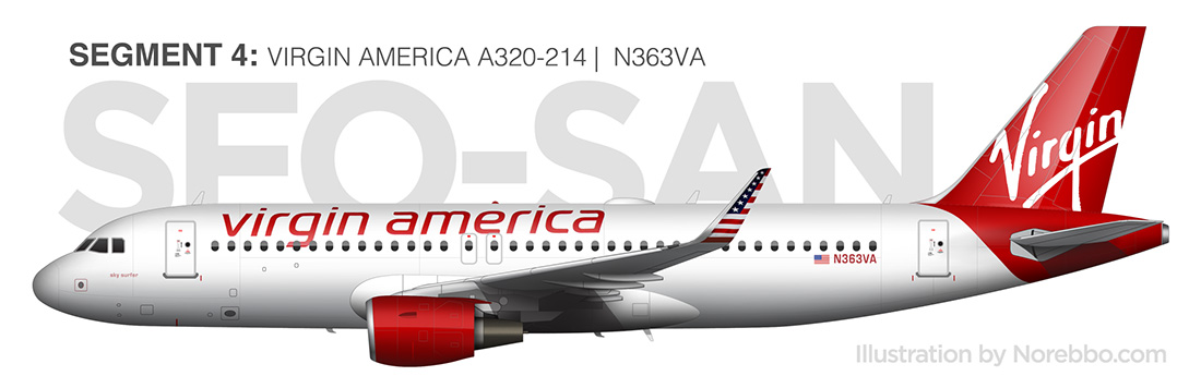 virgin america a320 side view