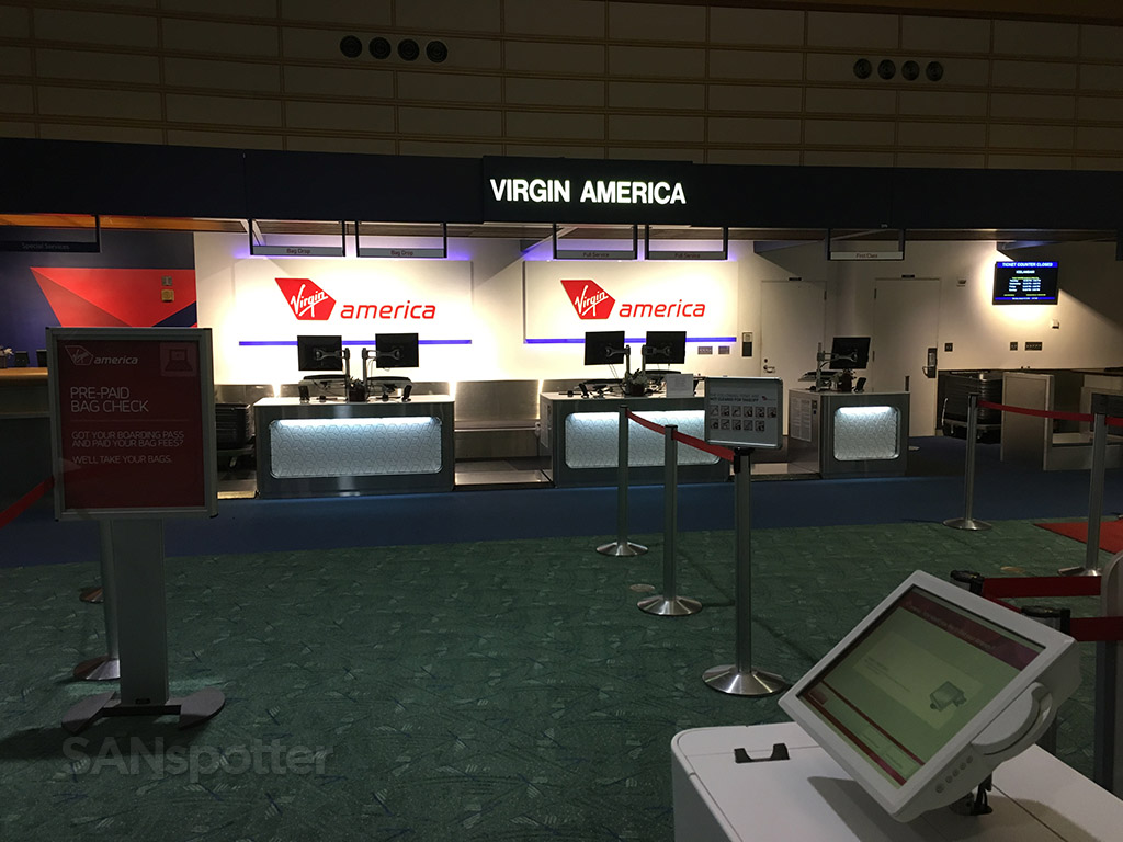 virgin america check in desk PDX airport