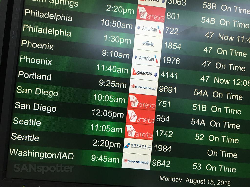 flight information board SFO