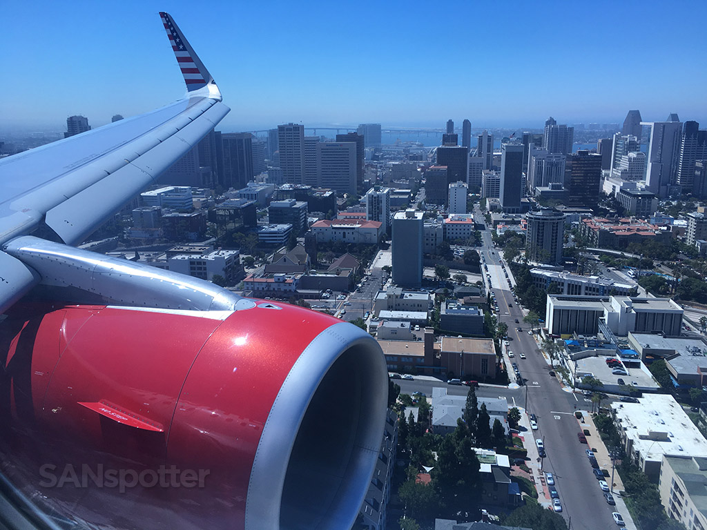 flying over downtown san diego