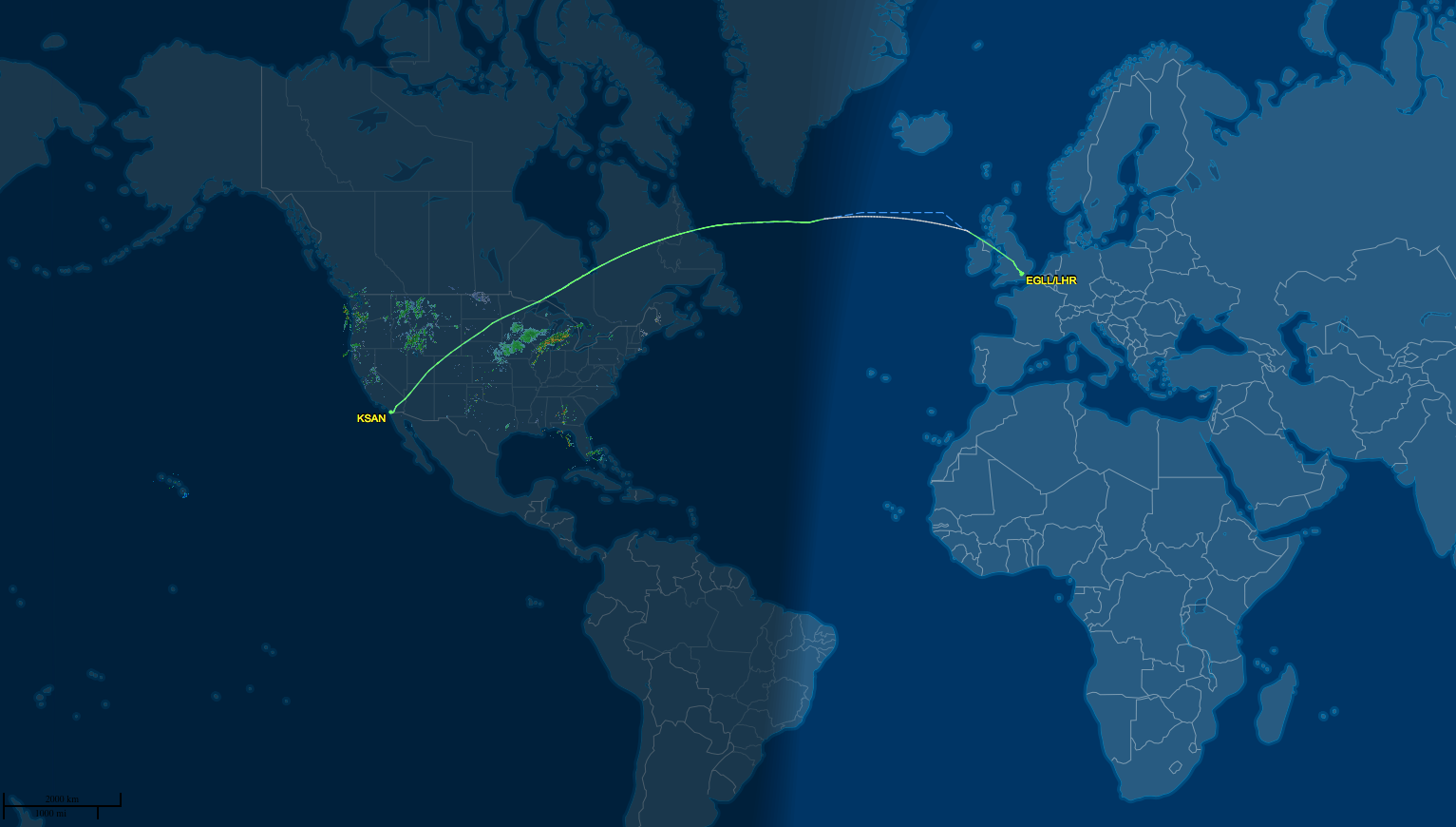SAN to LHR route map