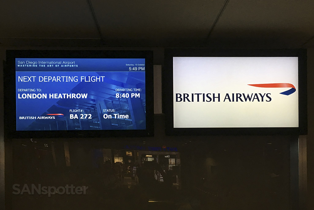 british airways flight information board san diego airport
