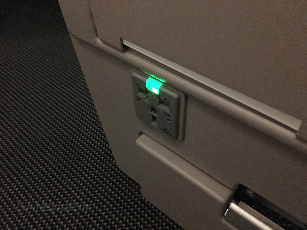 british airways club world in seat power outlet
