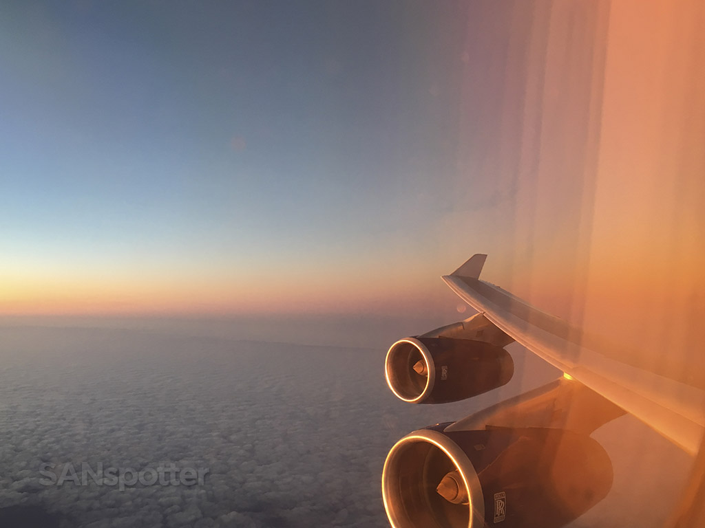 transatlantic flight sunrise