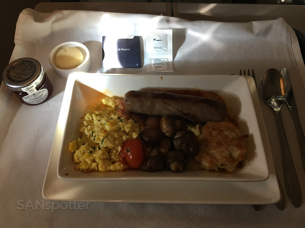 British Airways Club World breakfast