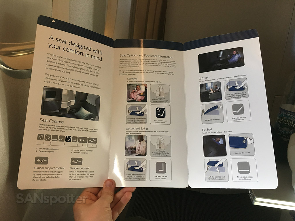 british airways club world booklet
