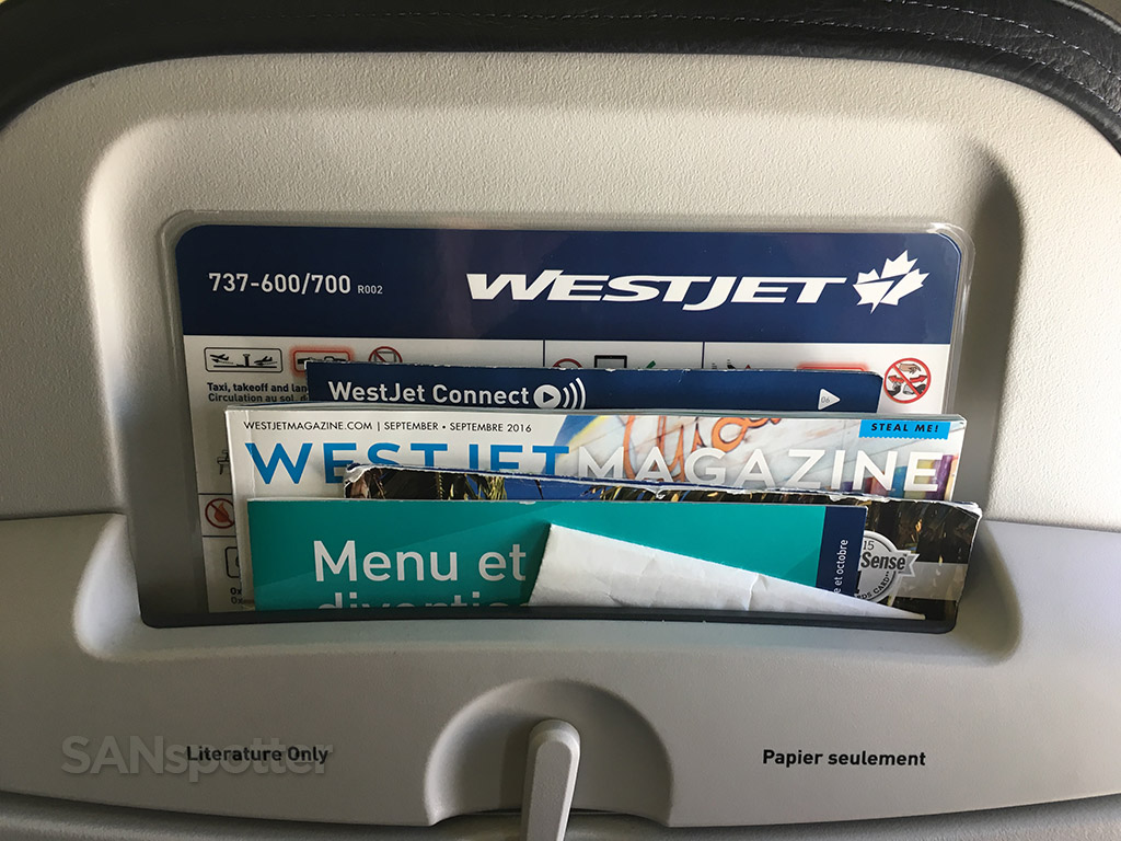 westjet 737-700 seat back pocket